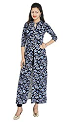 Franclo women's BUtterfly full length Dess (Blue, Small)