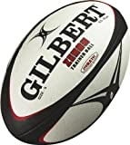 Gilbert Men's Zenon Rugby Training Ball - Black/Red, Size 5