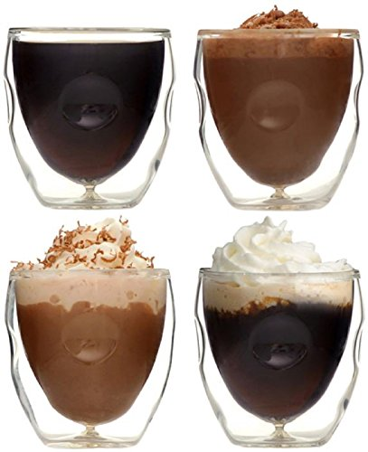 Moderna Artisan Series Double Wall 2 oz Beverage & Espresso Shot Glasses - Set of 4 Drinking Glasses