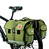 COTEetCI Bicycle Rear Seat Carrier Bag Double Pannier Bag 45L Water-Resistant Army Green