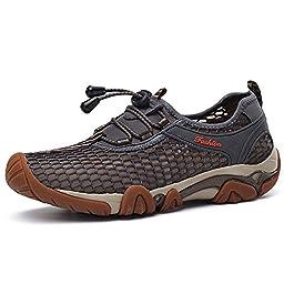 ZONI Men Mesh Comfort Athletic Outdoor Hiking Walking Driving Sneaker Water Shoes,Grey,42