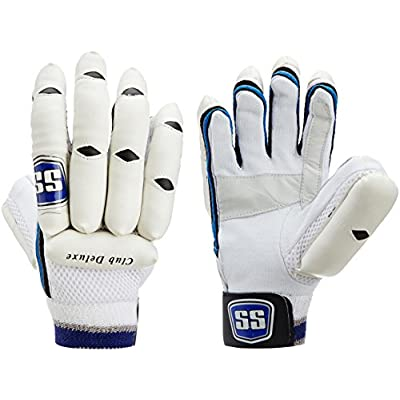 SS Club Deluxe Men's RH Batting Gloves (White/Blue)