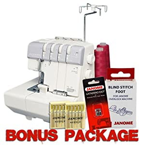 Janome MyLock 634D Overlock Serger, with Self Threading Lower Looper, Differential Feed, 2 needle, 2/3/4 Thread Overlock Stitching with FREE Instructional DVD & FREE BONUS PACKAGE! from Janome