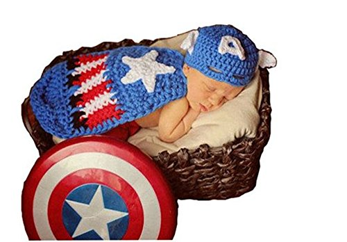 Pinbo Baby Boys Girls Photography Prop Captain America Hat Cover Costume Crochet Knitted Outfits