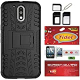 Tidel Hybrid Military Grade Armor Kick Stand Back Cover Case For Moto G Plus 4th Gen (G4) (Black) With Tidel Screen...