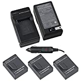 eForCity 3 x  Battery with Compact Battery Charger Set Compatible with GoPro Hero 3 / 3+
