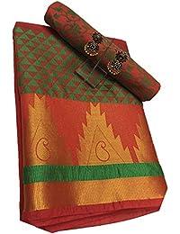 Clickedia Cotton Saree (Pooja Bhatt Jk 01 Red Green Saree_Red Green)