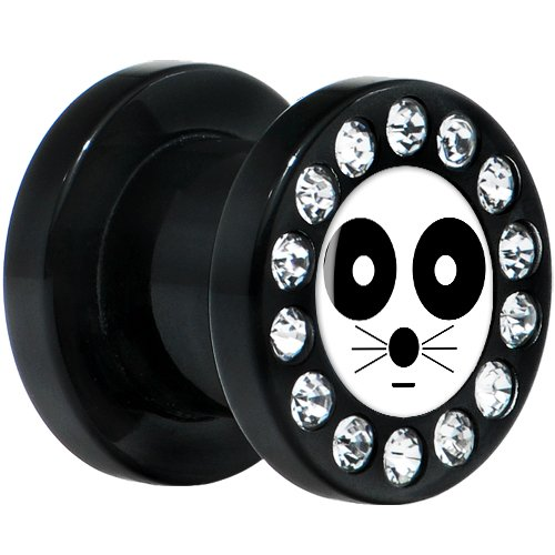 0 Gauge Black Acrylic White Black Eye Cat Face Gem Screw Fit Plug