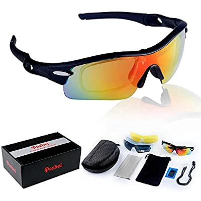 POSHEI P03 Polarized UV Protection Sports Glasses for Men or Women , Cycling Wrap Sunglasses with 5 Interchangeable Lenses Unbreakable , for Riding Driving Fishing Running Golf and All Outdoor Activities