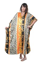 Up2date Fashion Caftan with Orange & Black Tribal Print, One Size Plus, Style#Caf-51