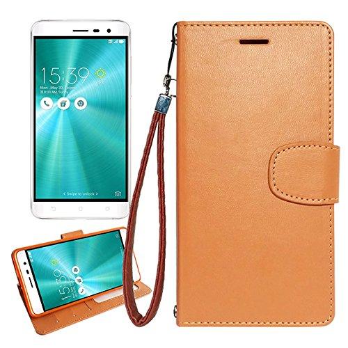 【 shizuka-will- 】ASUS ZenFone3 ( ZE520KL / 5.2インチ ) 専用 手帳 型 ケース カバー ストラップ付 クリアポケット カード収納あり ( キャラメルブラウン ) zenfone 3 ケース カバー ゼンフォン3 ze520kl