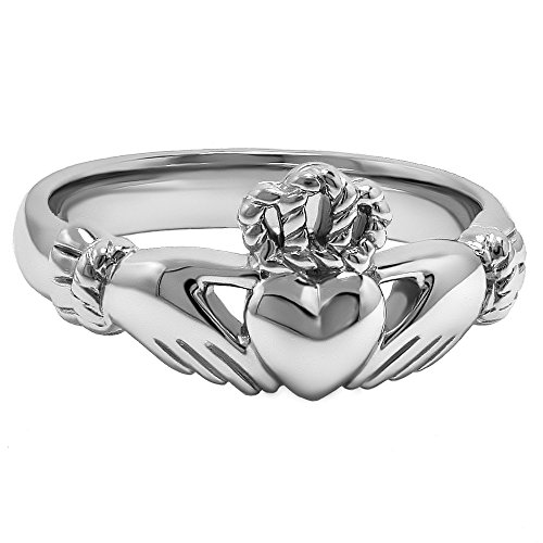 Rhodium Plated Claddagh Ring