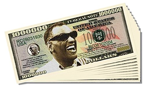 Ray Charles Million Dollar Bill - 25 Count with Bonus Clear Protector & Christopher Columbus Bill