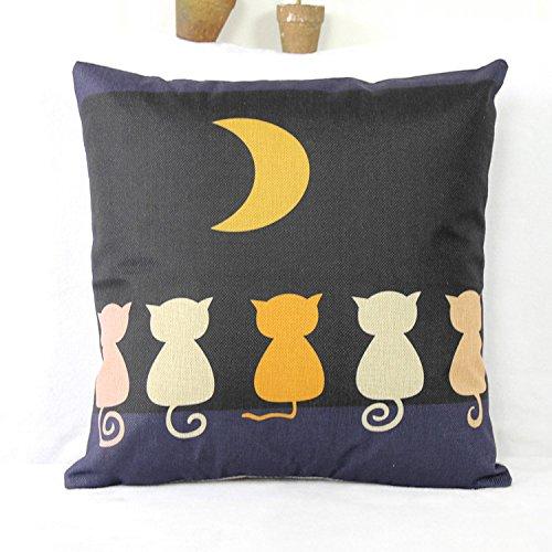 Luxbon 45 x 45 cm Schwarz Nacht Mond Katze Leinen Kissenbezug Kissen Fall Sofa Taille Throw Cover Pillowcase Huelle Hause Zimmer Sofa Couch Stuhl Auto Deko