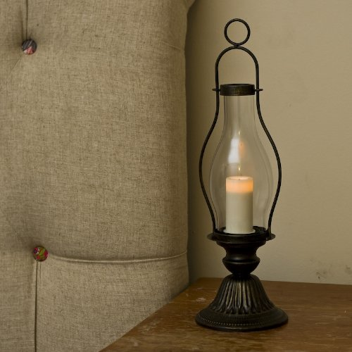 Traditional Style 16′ Rust Colored Lantern with Glass Hurricane and Flameless Battery Operated Resin Candle with Auto Timer