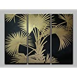 Gold Leaf Painting Set Of Three - 60w X 40h Inch