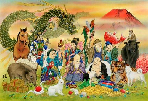 1053 super small piece good luck Chinese zodiac Seven Lucky Gods 47-702 (japan import)