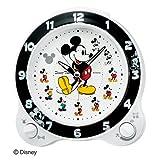 セイコークロック キャラクター目ざまし時計 ミッキーマウス プラスチック枠(白パール塗装) FD461W