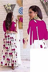 Kesu Fashion Women's Printed Un-stitched Lehenga Choli With Dupatta In Banglori Silk Fabric (KUPJBB1001) Pink