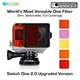 WoCase Switchable GoPro Lens Filter Set for GoPro HERO4 HERO 3+ Cameras (Compatible with Both Standard and Dive Housing, Full Dive Water Depth Coverage)