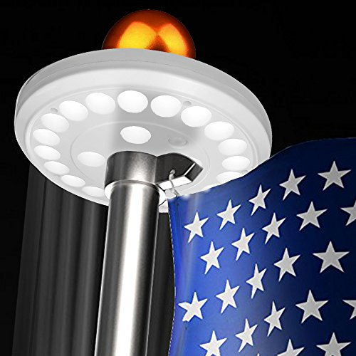 upgrade 24 led amir solar powered flag pole flagpole. Black Bedroom Furniture Sets. Home Design Ideas
