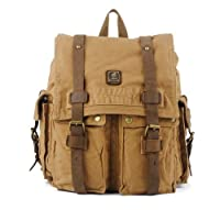 Vintage Canvas Leather School Rucksack Backpack