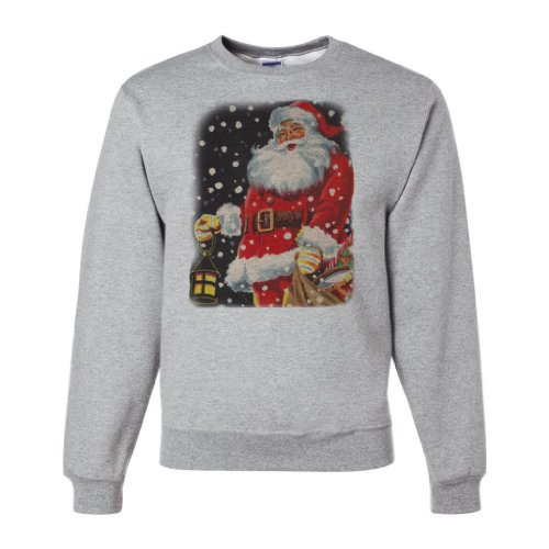 Vintage Santa Claus Christmas Crewneck Sweatshirt By Dsc - Ash X-Large front-257839