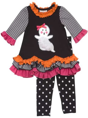 Girl's Multi Color Ruffle Ghost Polka Dot Legging Set