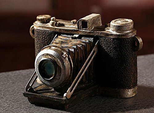 Zakka Grocery Home Furnishing Decor Craft Ornaments Worn Do Dirty Craft Tin Camera/radio/piano Decoration (Camera) 1