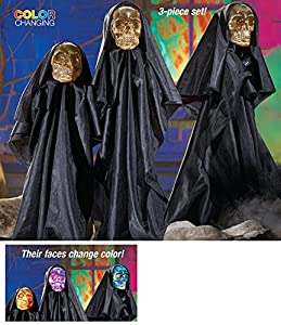 Set Of 3 Halloween Led Color Changing Skull Garden Stakes from Collections Etc