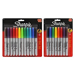 Sharpie Fine Point Permanent Markers, Assorted Colors, 20/Pack