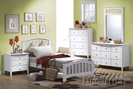 4PC Twin Size Bedset Contemporary Style White Finish