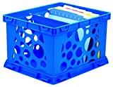 Storex Large Storage and Transport File Crate, 17.25 x 14.25 x 10.5 Inches, Neon Blue, Case of 6 (STX61578U06C)