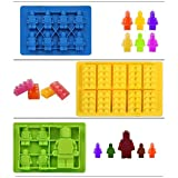 Bigear 6pc Candy Tray Molds For Lego Lovers, Chocolate Molds, Ice Cube Molds, Silicone Baking Molds- Building Blocks and Figures(Set of 6)