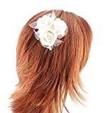 Gorgeous Ivory 3 Mini Roses Hair Accessory - wedding, bridal, special occasion