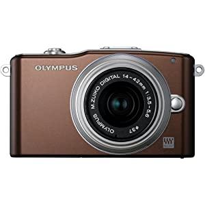 Olympus PEN E-PM1 12.3MP Interchangeable Lens Camera with CMOS Sensor, 3-inch LCD and 14-42mm II Lens (Brown)