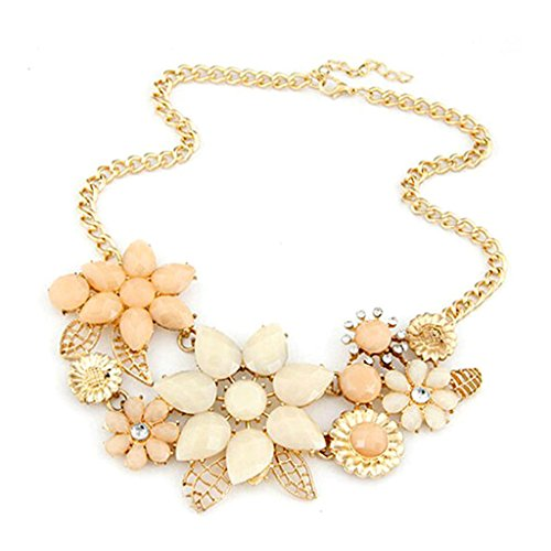 HuntGold Women Lady Elegant Bauhinia Flower Acrylic Diamond Pendant Chain Choker Necklace