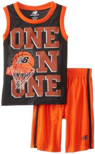 New Balance Little Boys' Dazzle Muscle T-Shirt And Sport Short Set, Black/Orange, 4 front-642439