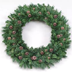 12' Cheyenne Pine Artificial Commercial Christmas Wreath with Pine Cones - Unlit