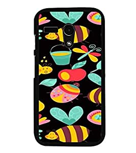 iFasho Animated Pattern colrful flower and butterfly Back Case Cover for Moto G