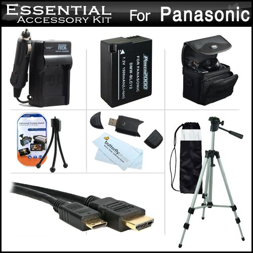Essential Accessories Kit For Panasonic Lumix Dmc-Fz200, Dmc-G5, Dmc-Gh2, Dmc-G6Kk. Dmc-G6 Digital Camera Includes Extended Replacement (1500 Mah) Dmw-Blc12 Battery + Ac/Dc Travel Charger + Mini Hdmi Cable + Usb Reader + Case + 50 Tripod W/Case + More