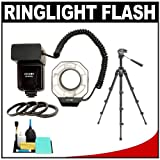 Zeikos Digital Macro Ring Light Flash with Adapter Rings + Close-up Tripod + Cleaning Kit for Nikon D40, D60, D3000, D3100, D5000, D5100, D7000, D300s, D3 & D3s Digital SLR Cameras