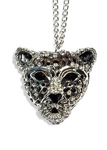 Jaguar Necklace Tiger Cheetah Cougar Panther Silver Tone NE33 Vintage Crystal Pendant Fashion Jewelry