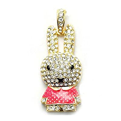 8GB Fashion Crystals Jewelry USB 2.0 Flash Memory Pen Drive Pink Rabbit Gold Pendant for Necklace from pengyuan