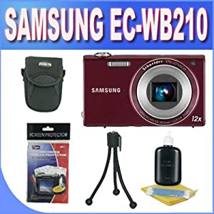 Samsung EC-WB210 Digital Camera with 14 MP, 12x Optical Zoom and Touchscreen (Burgundy) With Accessory Kit