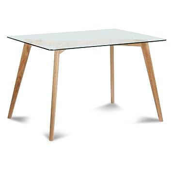 Table de repas verre et bois Fiord (120x80xH.75cm)