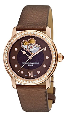 Frederique Constant Heart Beat Automatic Rose Gold Plated Steel Womens Watch Brown MOP Dial FC-310CDHB2PD4