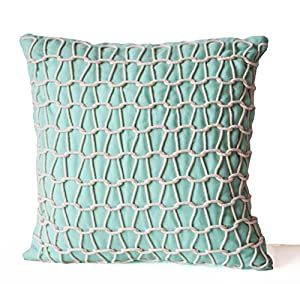 teal decorative pillow cover handcrafted linen pillow case light teal white cord. Black Bedroom Furniture Sets. Home Design Ideas