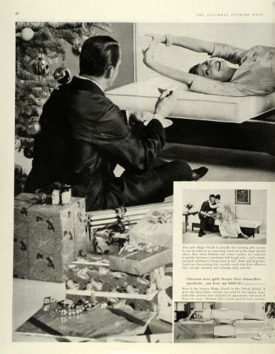 1959 Ad Stauffer Magic Couch Exercise Baby Rocker Xmas Magnin Gown Furniture - Original Print Ad front-1064456