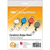 Swingline GBC ID Badge Holder, BadgeMates, Translucent Retractable Carabiner Badge Reel, Assorted Colors, 4 Pack (3747498)